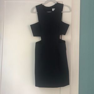 Navy blue dress with cut outs on the side